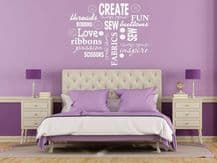Creative Sewing Word Cloud Hobby Wall Sticker Quote Decal Transfer Vinyl Decor